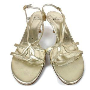 Stuart Weitzman Gold Sandal Pumps Size: 7.5M